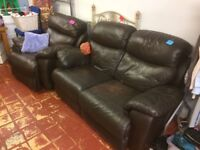 free, sofa has a mark on the seat, chair has a bit of paint on, but not worn and really comfortable