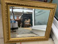 Antique gold carved bevelled mirror £12