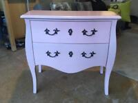 Pink two drawer bombe chest of drawers