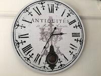 Superb Extra Large Antique Style Wall Clock Distressed Pendulum Clock