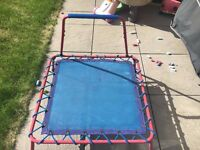 Kids mini jumper trampoline with hold bar