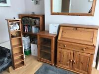 Pine furniture bookcase cd rack hifi cabinet and desk