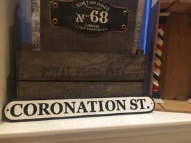 Cast iron coronation street sign (heavy)