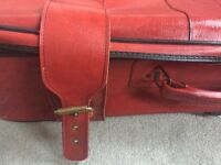 VINTAGE Dark Red 1970's Genuine Hackney Hipster Leather Large Travel Bag Suitcase