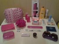 HOLIDAYS? ... 24 NEW+UNUSED ITEMS .. TOILET BAG, ACCESSORIES AND TOILETRIES