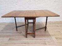 1920's Oak Gateleg Dining Table (DELIVERY AVAILABLE)