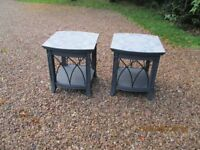 re worked decoupage set of side tables with graphite and wrought iron finish
