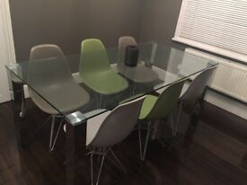 Posh chrome and glass dining table