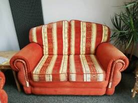 2 x two seater sofa and foot stool with storage