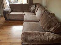 Corner sofa and cuddler swivel chair