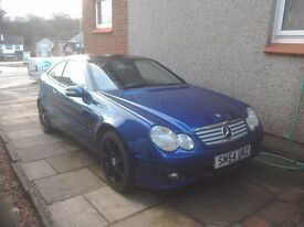 Mercedes Benz c230 compressor coupe 1800cc auto in metallic blue MOT till Oct 2017 . £1300