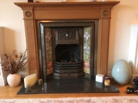 Stovax Complete Victorian tiled cast iron fireplace surround and solid wood mantlepiece