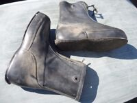 LARGE MILITARY ISSUE WATERPROOF RUBBER ZIP UP BOOTS IDEAL MARINE USE