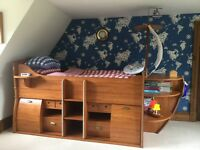 Boys ship cabin bed made by Gautier with drawers and shelf storage