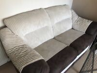 2x2 seater sofas cream suede and brown faux leather in superb condition barely used