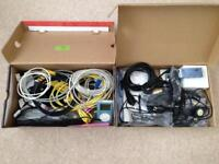 Two boxes of PC cables and accessories