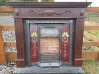 106 Cast Iron Fireplace Surround Fire Wood Tiled Insert Antique Victorian Style
