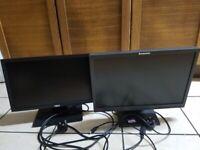 2 Computer monitors: Dell and Lenovo