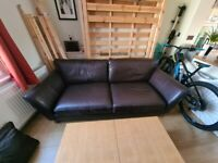 Marks and Spencer Dark Brown Leather Sofa