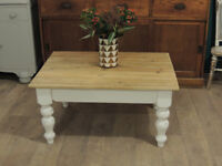 Lovely farmhouse style shabby chic solid pine coffee table
