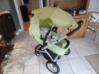 Mothercare My4 pram, push chair, green, accessories