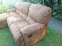 LEATHER SUEDE CORNER ITALIAN SOFA SADDLE BROWN £355 ONO CAN DELIVER UK