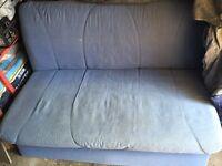 Blue click-clack sofa bed.