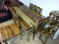 Lovely solid wood dining table and 6 chairs with coffee table&3nest of table . EXCELLENT CONDITION