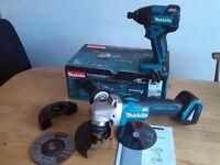 new makita 18v brushless grinder dga454 + BL impact driver dtd129. dga454z + dtd129z bare tools