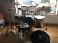Pearl export chrome drum kit, sabian pro cymbals & extras