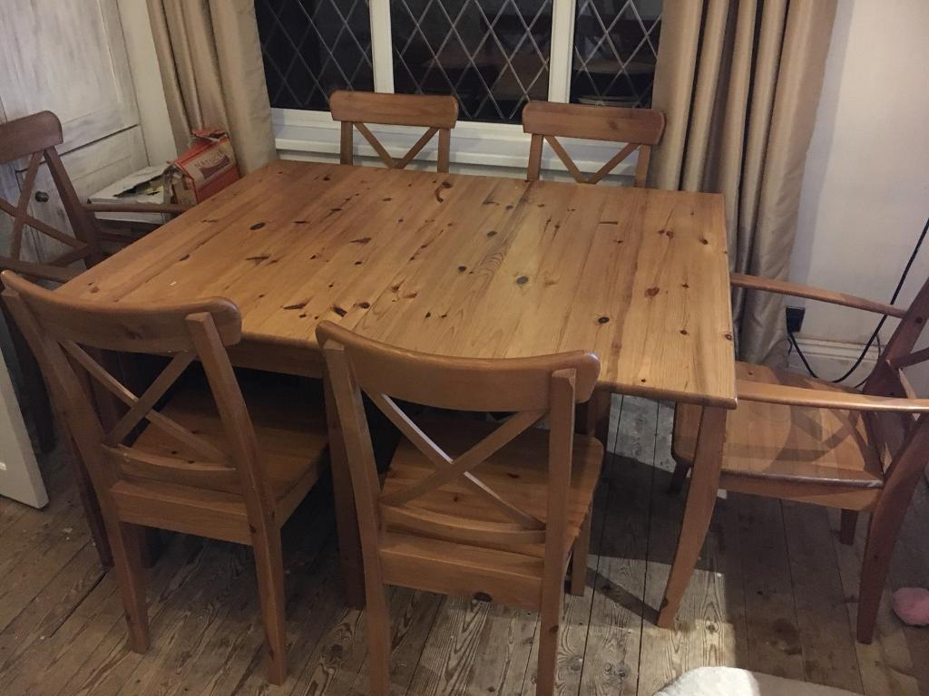 Ikea Dining Table X6 Chairs