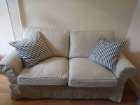 Two-seat sofa IKEA style; EKTORP Nordvalla colour; dark beige