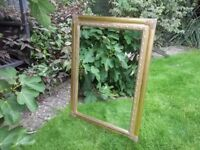 "HEAVY LARGE 43"" x 31"" ORNATE GOLD FRAMED MIRROR BEVELLED GLASS LOUNGE DINING ROOM BEDROOM"