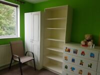 White furniture - Wardrobe Bookcase Drawers