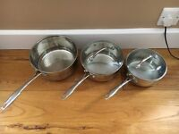 SET OF THREE STAINLESS STEEL PANS - TWO LIDS INCLUDED - GREAT QUALITY