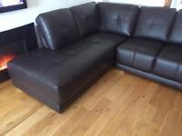 Brand new dark almond soft leather corner sofa