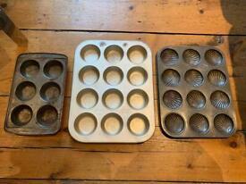 Three vintage baking cake trays muffins