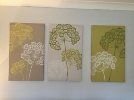 Set of three large green next canvases