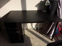 IKEA desk and leather effect chair- see all pics