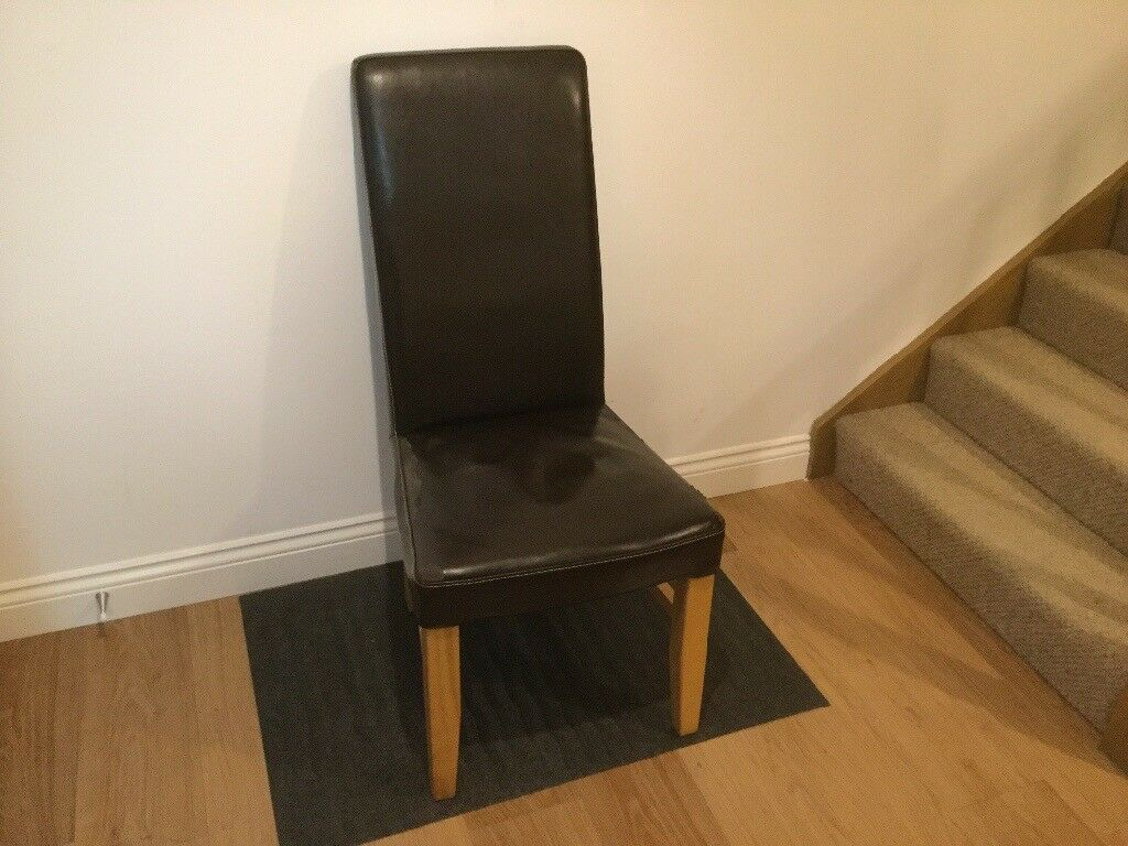 6 Oak & Leather Dining Room Chairs