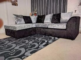 BRAND NEW STYLISH JULIE CRUSH VELVET CORNER SOFA OR (3+2) **SPECIAL OFFER**