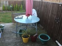 Job lot garden furniture table chairs sun lounges parasol and base