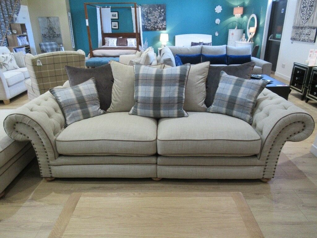 3 Seater Sofa In Natural Oatmeal Sky Blue Tartan With Tan
