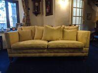 Duresta Trafalgar 2.5 Seater Yellow Gold Dragon Drop Arm Sofa