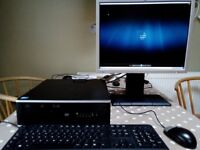 Complete HP Compaq 6000 sff pc setup (at492av) 4gb ram, 1gb graphics, monitor included