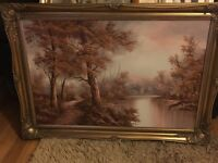 Large oil painting with gilded frame..perfect condition