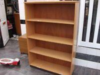 bookshelf 3 shelf wood with wood back