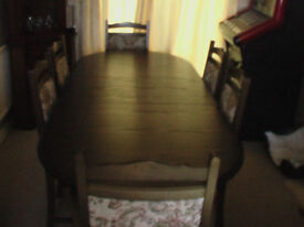 oak dining room table with 6 chairs
