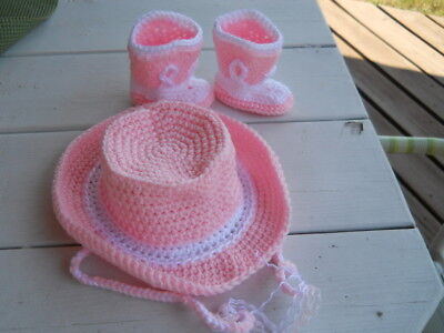 HANDMADE CROCHET COWBOY COWGIRL HAT BOOTIES SET PINK & WHITE BABY TODDLER  - Toddler Pink Cowgirl Hat