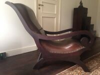 Bali Mahogany and leather Lazy Chair